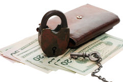 Money and the lock Royalty Free Stock Photos