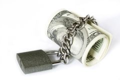 Money in   lock Royalty Free Stock Photography