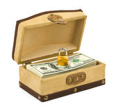 Money and lock in box Royalty Free Stock Photos