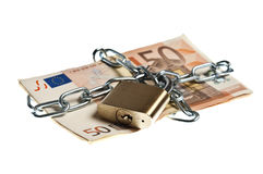 Money locked. On hite background Royalty Free Stock Photos