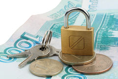 Money locked on lock Stock Photo