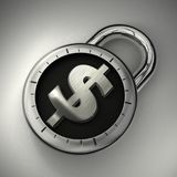 Money that is locked, protected and secured. A combination lock is locked with a dollar sign representing secured money Royalty Free Stock Images