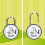 Money locked and unlocked. Illustration of the concept of two padlocks with locked and unlocked money. The grunge texture is removable from the background Stock Image