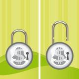 Money locked and unlocked Stock Image