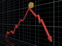 Money loss. Business graph with red arrow which shows money loss Royalty Free Stock Photography