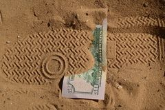 Money lost in the desert. On the trail Royalty Free Stock Image