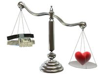 Money or love Royalty Free Stock Photos
