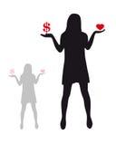 Money or love. Black silhouette woman, balance, selection Royalty Free Stock Photos