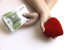 Money or love. In the life this sometimes happens: an importantdecision meet - the chois between money or love Royalty Free Stock Photography