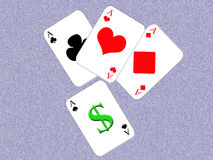 Money or love. Design cards for hazard playing on white background Stock Photos