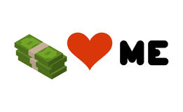 Money loves me. Heart and wad of cash. Emblem for lovers of dol. Lars. Logo for rich Royalty Free Illustration