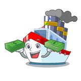 With money luxury character ship sailing to port vector illustration