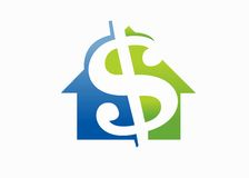 Money luxury House. Green and blue money home on a white background Stock Photography