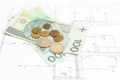 Money lying on the housing plan Royalty Free Stock Image
