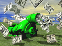 Money flying out of money making machine Royalty Free Stock Images