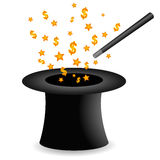 Money from magic hat Stock Images