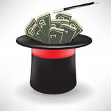Money in magic hat with wand Stock Image