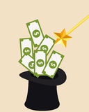 Money and Magic. Wizard Hat and magic wand Royalty Free Stock Images