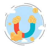 Money magnet, funds accumulation vector concept Royalty Free Stock Image