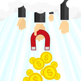 Money magnet illustration. Money business success dollar magnet. Vector illustration vector illustration
