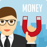 Money magnet illustration. A magnet for money Money business success dollar magnet. Vector illustration vector illustration