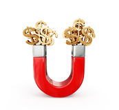 Money magnet. Magnt attract money concept  on a white Stock Image