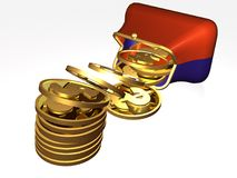 Money and magnet purse Stock Images