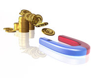 Money and magnet Royalty Free Stock Images
