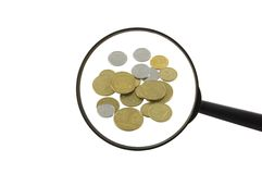 Money and magnifier Stock Image