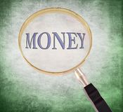 Money magnify. By 3d rendered magnifying glass on green grunge background Stock Images