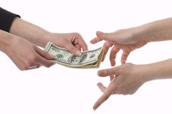 Money makes money. You give, and I take. To take from a pack Stock Image