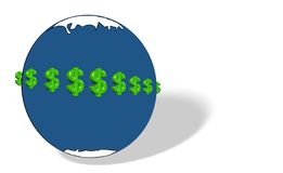 Money makes the world go round. Illustration of global economy on a global scale Royalty Free Stock Photography
