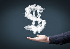 Money making. Conceptual image with cloud dollar sign on palm stock photography