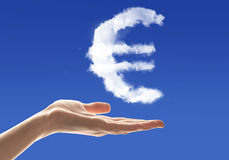Money making. Conceptual image with cloud euro sign on palm Royalty Free Stock Photos