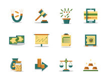 Money making flat color ions set. Finance stock, banking and economy. Set of colored flat icons. Money making concept. Web design elements for site and mobile Stock Image