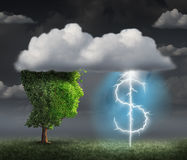 Money Making Idea. As a wealth and entrepreneur concept with a tree head in the clouds with a lightning bolt shaped as a dollar sign as a financial symbol for Stock Images