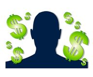 Money Making Ideas Silhouette. An illustration featuring a silhouette in dark blue surrounded by green dollar signs to represent money making ideas. The head Stock Photos