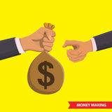 Money making illustration. Hand with a bag of money transfers it to another. Money making, financial, corruption, bankig and money saving isometric concept Stock Photography