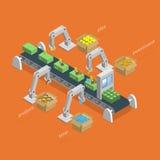 Money Making Process Isometric Concept. Money Making Process Concept. Robotized Conveyer For Making Money.  Robots Assemble Money Using Idea, Analysis Stock Photo