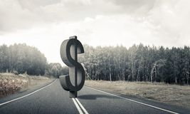 Money making and wealth concept presented by stone dollar symbol on asphalt road. Stone dollar symbol on natural landscape as currency sign royalty free stock photos
