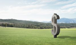 Money making and wealth concept presented by stone dollar symbol on green grass. Stone dollar symbol on natural landscape as currency sign royalty free illustration