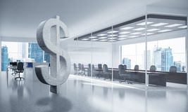 Money making and wealth concept presented by stone dollar symbol. Stone dollar symbol in modern office interior as currency sign. 3d rendering Royalty Free Stock Photos