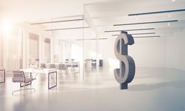Money making and wealth concept presented by stone dollar symbol. Stone dollar symbol in modern office interior as currency sign. 3d rendering Royalty Free Stock Images