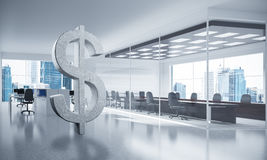 Money making and wealth concept presented by stone dollar symbol. Stone dollar symbol in modern office interior as currency sign. 3d rendering Royalty Free Stock Image