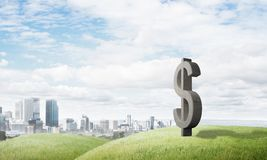 Money making and wealth concept presented by stone dollar symbol on natural landscape Stock Images