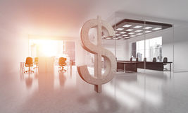 Money making and wealth concept presented by stone dollar symbol in office room. Stone dollar symbol in modern office interior as currency sign. 3d rendering Royalty Free Stock Images