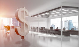 Money making and wealth concept presented by stone dollar symbol in office room. Stone dollar symbol in modern office interior as currency sign. 3d rendering Royalty Free Stock Photo