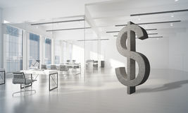 Money making and wealth concept presented by stone dollar symbol in office room. Stone dollar symbol in modern office interior as currency sign. 3d rendering Royalty Free Stock Photos