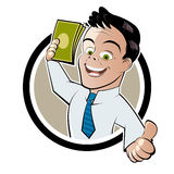 Money man. Funny cartoon illustration of a man with money Stock Photo