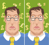 Money man. Business man with dollars or ponds behind him stock illustration